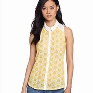 Lucky Brand Vivienne Collared Top Yellow Cream